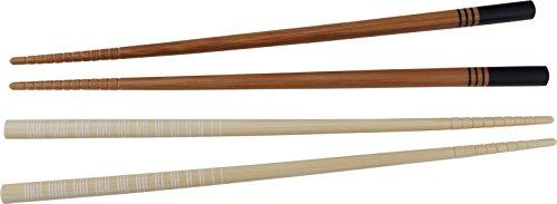 Fackelmann Essstäbchen ASIA LINE, Stäbchen aus Bambus in attrakiven Designs, robustes Sushi-Besteck aus Holz (Farbe: Weiß oder Blauschwarz - nicht frei wählbar), Menge: 12 Stück