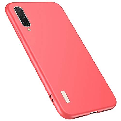 MoreChioce kompatibel mit Xiaomi CC9 Hülle,kompatibel mit Xiaomi CC9 Handyhülle Silikon Einfarbig,Durchsichtig Crystal Case Defender Bumper,Schön Rot Silikonhülle Stoßfest Etui