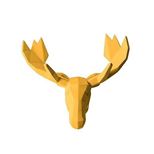 Montaje en pared Simulación Cabeza Cabeza Pared Colgante Resina Animal Cabeza Tridimensional Sala de Estar sofá Fondo Pared decoración artesanales Regalos Cabeza de Animal (Color : Yellow)
