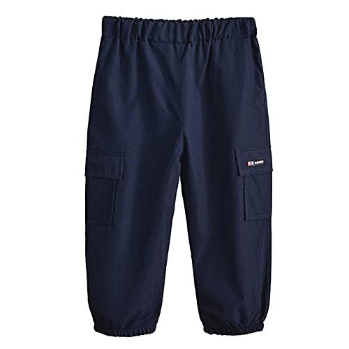 Aislor Pantalones Largos Bebé Niños Pants Pantalón Cargo con Bolsillos Pantalones Anchos de Moda Pants Recién Nacidos Pantalones Color Negro Caqui Militar Azul Marino 6-12 Meses