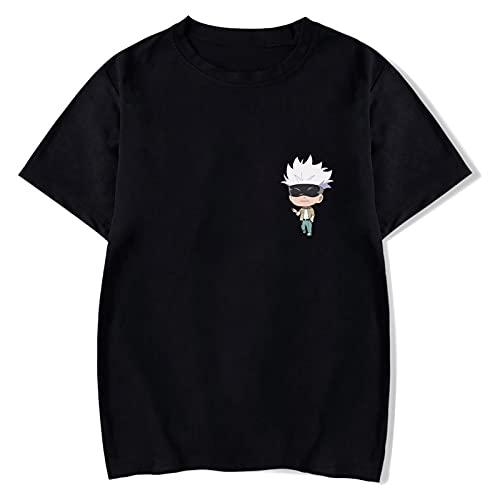 XINRUI Anime Jujutsu Kaisen Mens T-Shirt Cute Characters Printed Short Sleeve Tee for Men(xx_l Black-5)