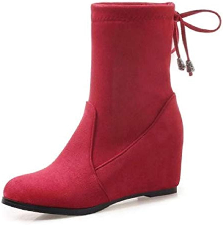 T-JULY Ladies Fur Winter colorful Warm shoes Female Inside Heels Bowtie Half Short Footwear