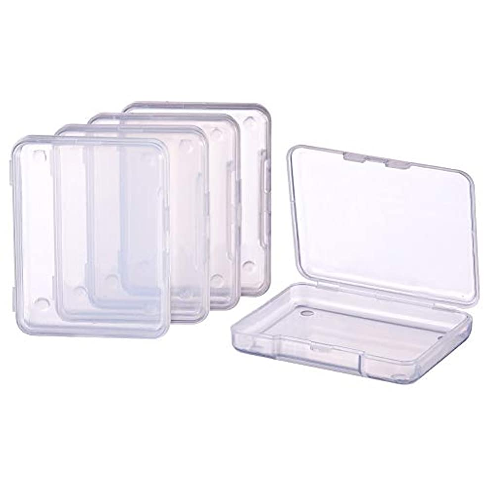 BENECREAT 18 Pack Rectangle Clear Plastic Bead Storage Containers Box Drawer Organizers with lid for Items,Earplugs,Pills,Tiny Bead,Jewelry Findings - 2.63x2x0.47 Inches