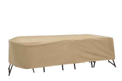 Housse de protection pour table de terrasse et chaises à dossier haut, 152,4 x 167,6 cm, table ovale/rectangulaire, marron clair par Protective Covers
