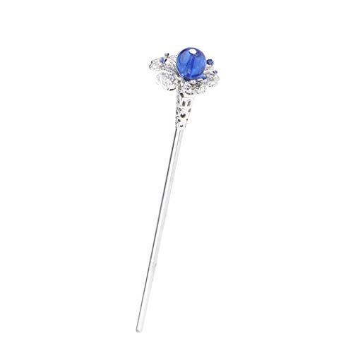 Vintage Haarstab Haarnadel Strass Haarschmuck Hairpin Hair Stick Chinesischer Kopfbedeckung - Blau