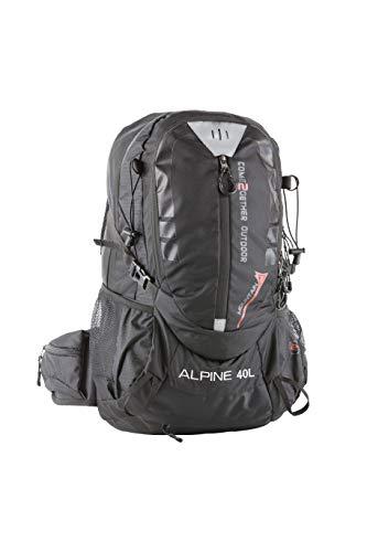 NOWI Trekkingrucksack praktischer moderner Outdoor Rucksack mit Regenhaube Brustgurt gepolsterte Schultergurte Schlaufen für Hiking Pole 40 Liter Volumen (Black)