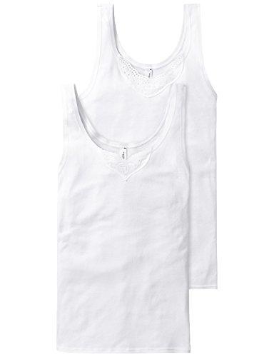 Schiesser Damen Trägertop (2er Pack) Unterhemd, Weiß (Weiss 100), 44