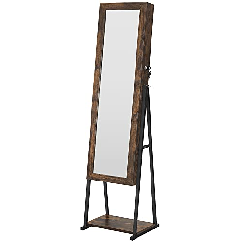 SONGMICS Industrial Mirror Jewelry Cabinet Armoire,6 LEDs Mirrored Jewelry Storage, Wood Look with...