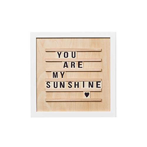 BUTLERS WORD UP Stecktafel mit Buchstaben aus Holz 30 x 30 cm - Retro Letterboard - Message Board
