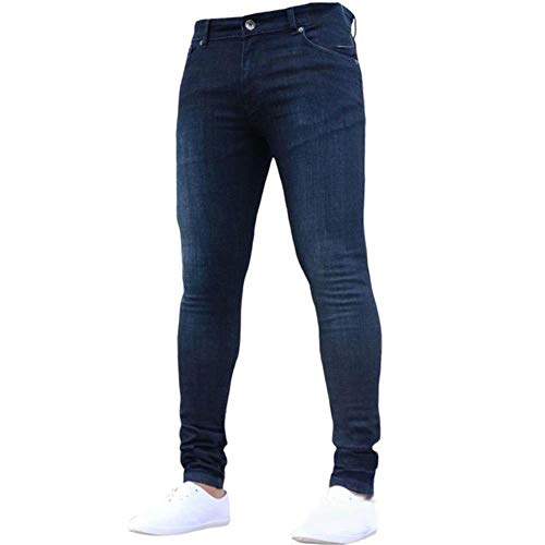 TOSISZ Mens Skinny Jeans Super Skinny Jeans Men Non Ripped Stretch Denim Pants Elastic Waist Big Size European Long Trousers