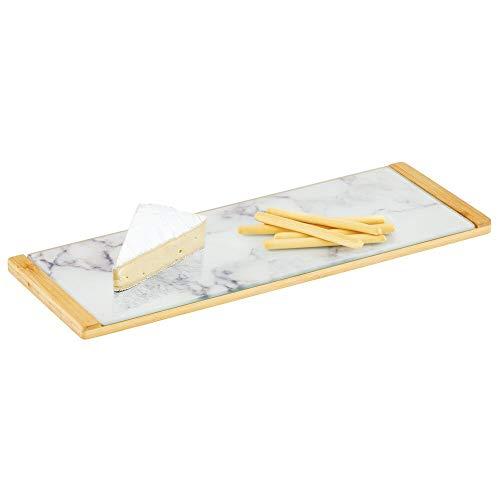 mDesign Bandeja decorativa con diseño marmolado – Bandeja rectangular para cocina, baño y oficina – Organizador de cocina para té, café, desayuno y tapas en bambú y cristal – blanco, gris y bambú