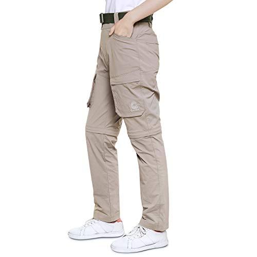 Gonex Damen Wanderhose, Zip-Off-Trekkinghose mit mehrere Taschen, Atmungsaktive Schnelltrockende und Leichte Outdoorhose für Wandern, Camping, Laufen, Alltagsleben, Khaki