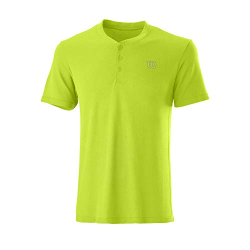Wilson Hombre Camiseta de Manga Corta, PWR SMLS Henley II, Poliéster/Nailon, Verde (Lime Popsicle), Talla S, WRA789103SM