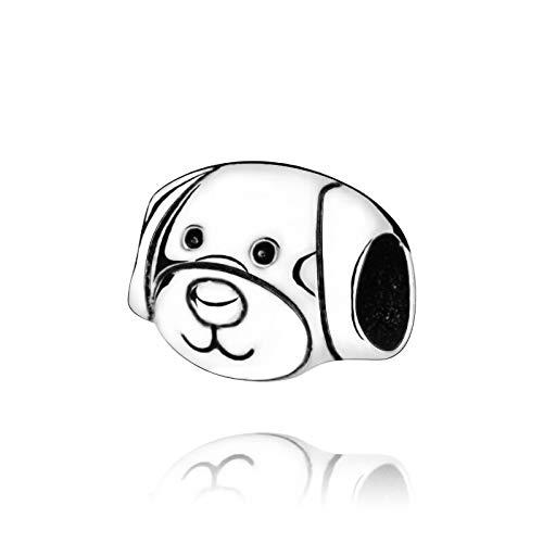 DIY 925 Plata Esterlina Lovely Dog Fit Original Pandora Pulseras Collar para Mujeres Cuentas De Dijes Fabricación De Joyas