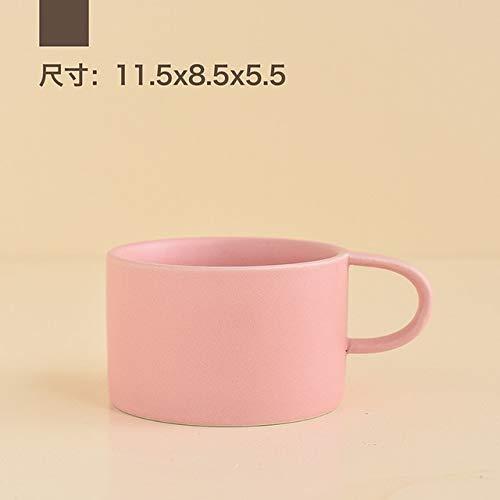 Fortalece la Taza de cerámica Taza de café con Leche Taza y Taza de café de Color sólido Simple Taza de acompañamiento Creativa Taza de té de Oficina - Rosa