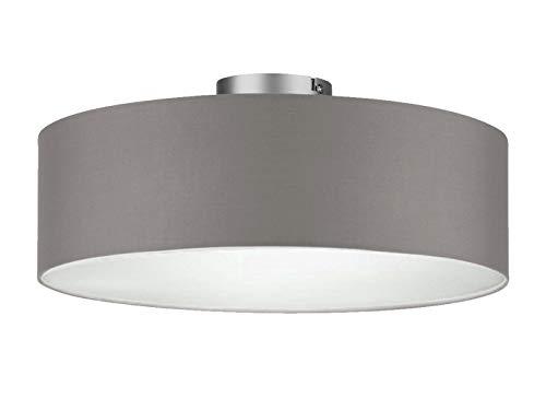 Lámpara de techo redonda con pantalla de tela y cubierta con efecto satinado