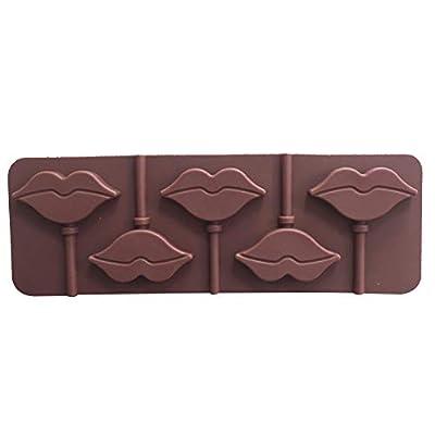 Newin Star Lèvres Rouges Lollipops Gâteau Moule Moule en Silicone pour Candy Chocolate Ustensiles De Cuisson Moule 5 Cavity