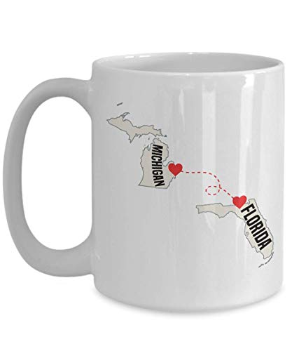 Florida And Michigan, Love Knows No Distance, Long Distance Relationship Coffee Mug, Tea Cup For Him, Her, Friends, Family SniperUSA