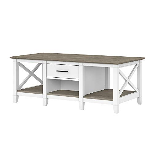 Bush Furniture Key West Coffee Table with Storage, Pure White and Shiplap Gray