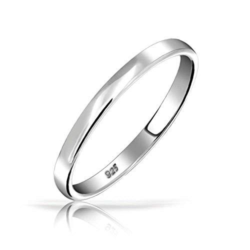 Minimalista simple 925 plata esterlina parejas alianzas anillo de la banda de boda o anillo del pulgar para las mujeres para los hombres 3MM