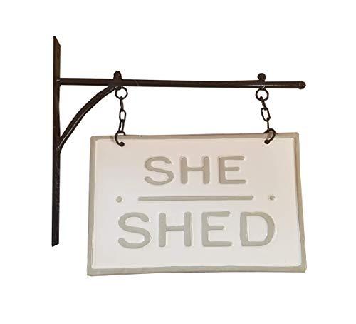AT Vintage Metal Hanging Sign Wall Hanger Decor (She Shed)