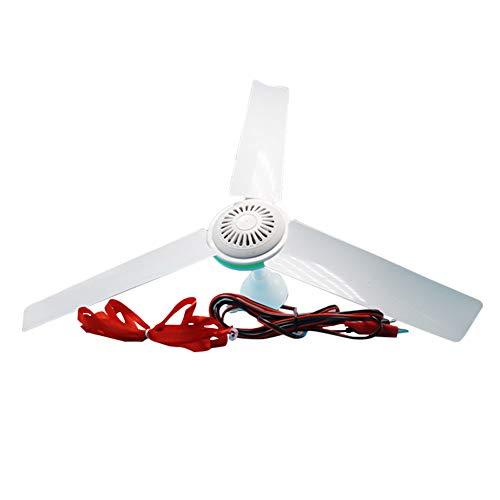 XuBa Ventilador de techo de 12 V CC de bajo voltaje y regulación de velocidad sin niveles para proteger contra moscas, ventilador de techo de 12 V + cable de clip de 2,5 m