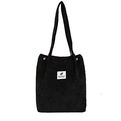 Sevenfly Cord Umhängetaschen Umwelt Einkaufstasche Tote Paket Crossbody Pouch Geldbörsen Lässige Handtasche Für Frauen, Schwarz