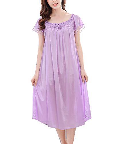 Camisón Talla Grande Mujer Verano Pijama Manga Corta Vestido Ropa De Dormir Moracho Un tamaño