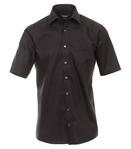 CASAMODA Herren Businesshemd Kurzarm Uni Comfort Fit Schwarz 44