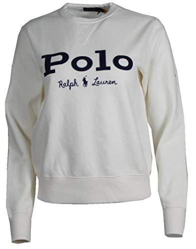 Ralph Lauren Jersey de cuello redondo para mujer, color azul marino, blanco y rosa Blanco S