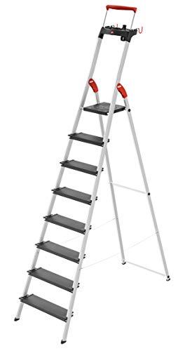 Hailo L100 TopLine, Alu-Sicherheits-Stehleiter, mit Multifunktions-Schale, ausziehbarer Sicherheits-Haltebügel, 8 Stufen, Plattformverriegelung und XXL Stufen, schwarz, Made in Germany, 8050-807