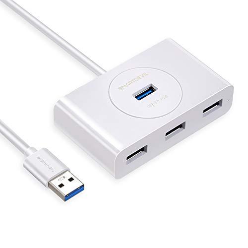 Hub USB 3.0 Ladrón USB 3.0 4 Puertos 5Gbps para PC, Portátil, Raspberry pi 4, Macbook, PS4, Xbox, Memoria USB, Ratón, Teclado Compatible con Mac OS, Windows y Linux, con Cable de 1.5M