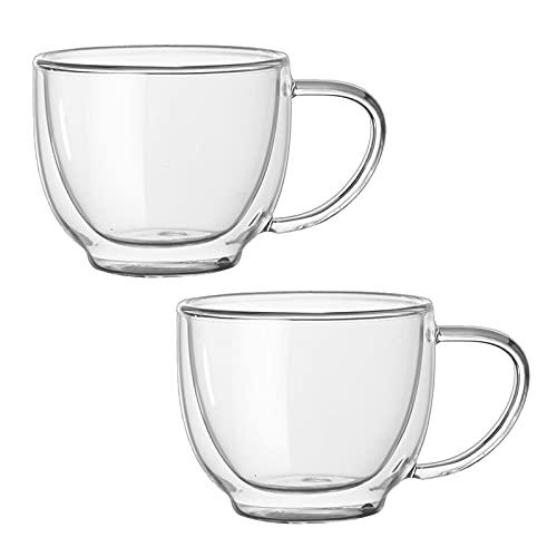 lulalula Juego de 2 tazas de café de vidrio aisladas de doble pared, 200 ml, tazas de café de vidrio de doble pared con mango capuchino Latte Macchiato Vasos para café, té