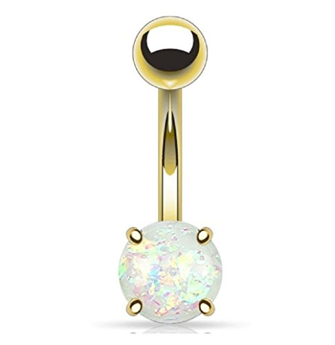Gekko Body Jewellery Bauchnabelpiercing aus vergoldetem Edelstahl mit weißem Glitzerstein, 1,6 mm x 10 mm.