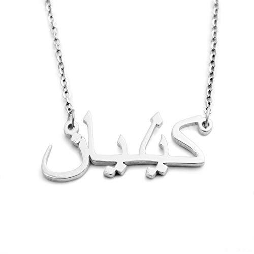 Lam Hub Fong Namenskette 925 Silber halsketten mit Arabisch anhänger Personalisierte Kette mit Namensanhänger für Damen (Silber)