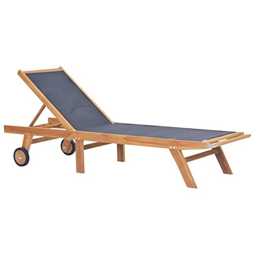 vidaXL Folding Sun Lounger with Wheels Solid Teak and Textilene