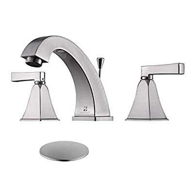 HOMELODY Widespread Bathroom Faucet 8 Inch, 2 Handle Bathroom Sink Faucet for 3 Hole,Lead-Free Lavatory Faucet With Lift Rod Drain,Brushed Nickel