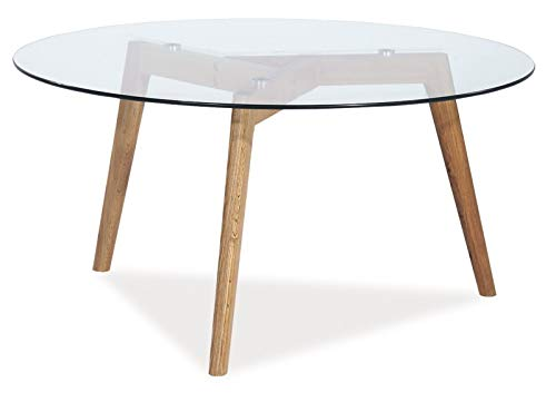 Jadella salontafel 'Oslo L2 ' glas bijzettafel glazen tafel eiken hout moderne tafel rond koffietafel