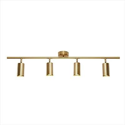 "Modo Lighting 4 Light Adjustable Track Lighting Gold Flush Mount Ceiling Lighting Industrial Spotlights Lights Fixtures for Living Room Bedroom Kitchen Hallway(39.3""/100cm)"