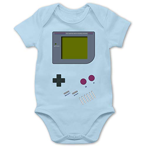 Shirtracer Strampler Motive - Gameboy - 1/3 Monate - Babyblau - Strampler Baby Gameboy - BZ10 - Baby Body Kurzarm für Jungen und Mädchen