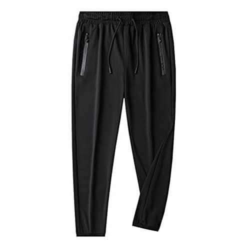 Crazyfly Pantalón de yoga elástico de seda de hielo para hombres, diseño de fitness con cordón frontal, cintura elástica, bolsillo lateral con cremallera para hombres deportivos