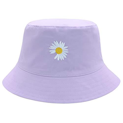 BucketHatFlowerEmbroidery100%CottonCapTravelBucketBeachSunHatforMenWomenKidReversible Pink/Purple