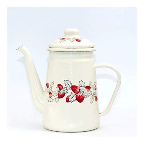 ZMHVOL 1.1L High-grade Enamel Coffee Pot Cafetera Pour Over Drip Kettle Barista Milk Water Jug Pitcher Teapot For Gas ICooker (White strawberry) BPA-Free Tea Kettle WANGHN