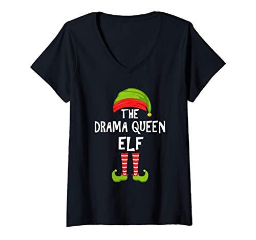 Mujer Drama Reina Duende a juego con el pijama de la fiesta famili Camiseta Cuello V