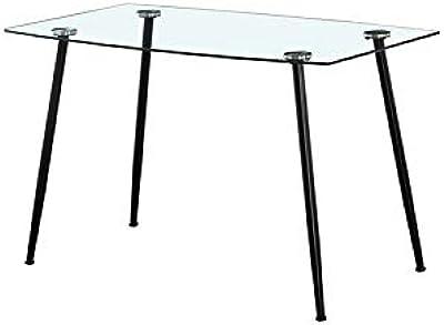 Zons Table DE Cuisine 4 Personnes RECTANGULAIRE en Verre, 120x70xH75 cm