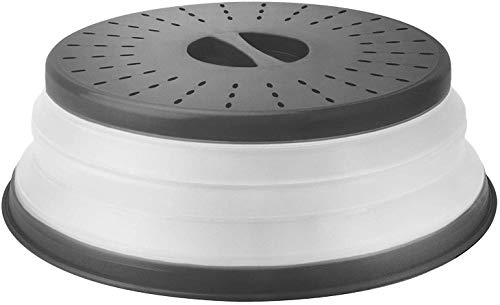MUQU® Cloche alimentaire pliable pour micro-ondes – Passoire pliable – 27 cm – Sans BPA, prise en main facile, assiette, couvercle avec grille d'aération et passoire pour fruits – Couleur aléatoire