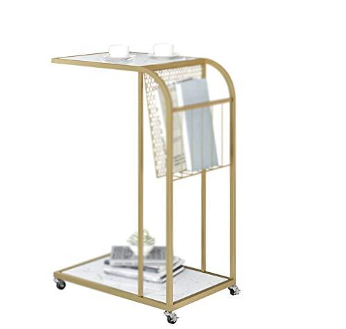 Mesa de negociación CDingQ, estante de metal con ruedas, diseño de mármol, mesa de café, hogar, dormitorio, ordenador de escritorio, fácil de mover