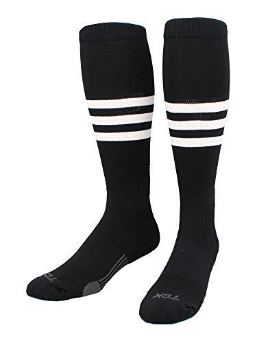 TCK Performance Baseball/Softball Socks (Black/White, Small) - Black/White,Small