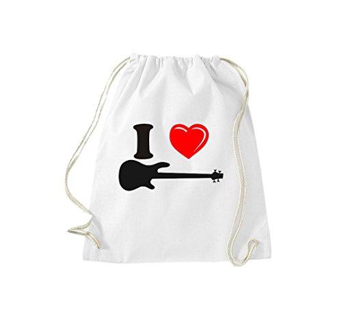 Turnbeutel Musikinstrument E-Gitarre Gibson Gymsack Kultsack weiß