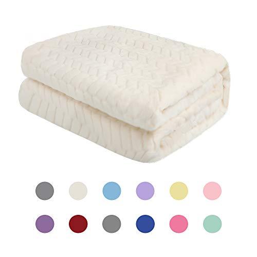 Rest-Eazzzy Flannel Blanket or Fluffy Blanket for Baby, Super Soft Warm Blanket for Infant or Newborn, Receiving Blanket for Crib, Winter Blanket, Stroller, Travel, Outdoor, Decorative (White 3040